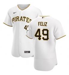 Pittsburgh Pirates 49 Michael Feliz Men Nike White Home 2020 Authentic Player MLB Jersey