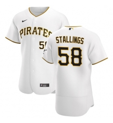 Pittsburgh Pirates 58 Jacob Stallings Men Nike White Home 2020 Authentic Player MLB Jersey