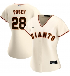 San Francisco New York Giants 28 Buster Posey Nike Women Home 2020 MLB Player Jersey Cream