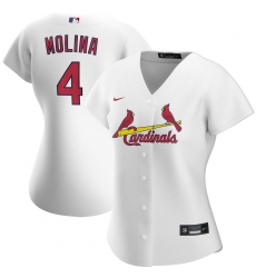 St  Louis St.Louis Cardinals 4 Yadier Molina Nike Women Home 2020 MLB Player Jersey White