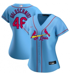 St  Louis St.Louis Cardinals 46 Paul Goldschmidt Nike Women Alternate 2020 MLB Player Jersey Light Blue