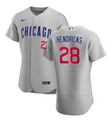 Men Chicago Cubs 28 Kyle Hendricks Men Nike Gray Road 2020 Flex Base Team Jersey