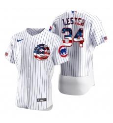 Men Chicago Cubs 34 Jon Lester Men Nike White Fluttering USA Flag Limited Edition Flex Base MLB Jersey