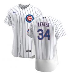 Men Chicago Cubs 34 Jon Lester Men Nike White Home 2020 Flex Base Player Jersey