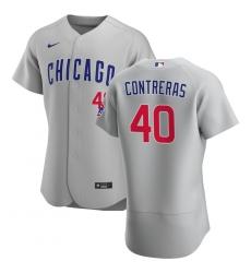 Men Chicago Cubs 40 Willson Contreras Men Nike Gray Road 2020 Flex Base Team Jersey