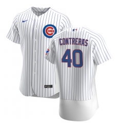 Men Chicago Cubs 40 Willson Contreras Men Nike White Home 2020 Flex Base Player Jersey