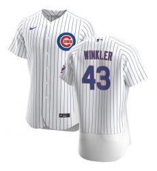 Men Chicago Cubs 43 Dan Winkler Men Nike White Home 2020 Flex Base Player Jersey
