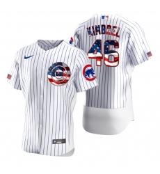 Men Chicago Cubs 46 Craig Kimbrel Men Nike White Fluttering USA Flag Limited Edition Flex Base MLB Jersey
