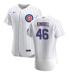 Men Chicago Cubs 46 Craig Kimbrel Men Nike White Home 2020 Flex Base Player Jersey