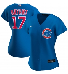 Chicago Cubs 17 Kris Bryant Nike Women Alternate 2020 MLB Player Jersey Royal