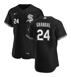 Men Chicago White Sox 24 Yasmani Grandal Men Nike Black Alternate 2020 Flex Base Player MLB Jersey