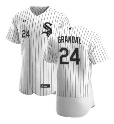 Men Chicago White Sox 24 Yasmani Grandal Men Nike White Home 2020 Flex Base Player MLB Jersey