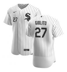 Men Chicago White Sox 27 Lucas Giolito Men Nike White Home 2020 Flex Base Player MLB Jersey