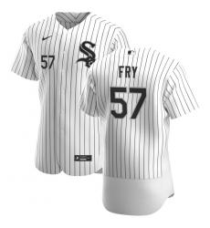 Men Chicago White Sox 57 Jace Fry Men Nike White Home 2020 Flex Base Player MLB Jersey