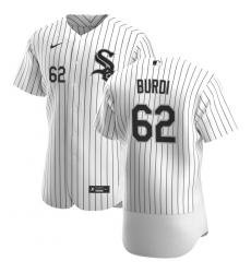 Men Chicago White Sox 62 Zack Burdi Men Nike White Home 2020 Flex Base Player MLB Jersey