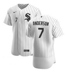 Men Chicago White Sox 7 Tim Anderson Men Nike White Home 2020 Flex Base Player MLB Jersey