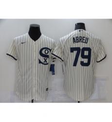 Men Nike Chicago White Sox 79 Jose Abreu Cream Elite 2021 Field of Dreams Jersey