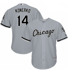 Mens Majestic Chicago White Sox 14 Paul Konerko Grey Road Flex Base Authentic Collection MLB Jersey