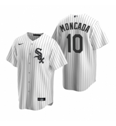 Mens Nike Chicago White Sox 10 Yoan Moncada White Home Stitched Baseball Jersey