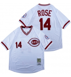 Men Cincinnati Reds 14 Pete Rose White 1976 Throwback Jersey