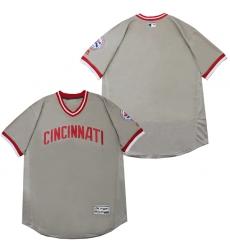Men Cincinnati Reds Blank Gray Throwback Jersey