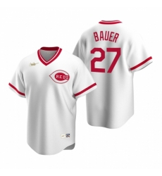 Mens Nike Cincinnati Reds 27 Trevor Bauer White Cooperstown Collection Home Stitched Baseball Jersey