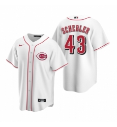 Mens Nike Cincinnati Reds 43 Scott Schebler White Home Stitched Baseball Jersey