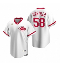 Mens Nike Cincinnati Reds 58 Luis Castillo White Cooperstown Collection Home Stitched Baseball Jersey