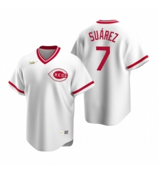 Mens Nike Cincinnati Reds 7 Eugenio Suarez White Cooperstown Collection Home Stitched Baseball Jersey