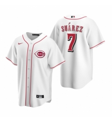 Mens Nike Cincinnati Reds 7 Eugenio Suarez White Home Stitched Baseball Jersey