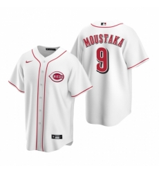 Mens Nike Cincinnati Reds 9 Mike Moustakas White Home Stitched Baseball Jersey