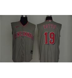 Reds 19 Joey Votto Gray Nike Cool Base Sleeveless Jersey