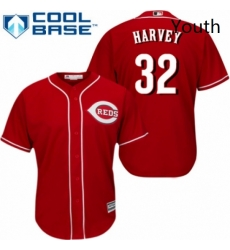 Youth Majestic Cincinnati Reds 32 Matt Harvey Replica Red Alternate Cool Base MLB Jersey
