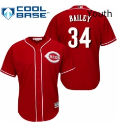 Youth Majestic Cincinnati Reds 34 Homer Bailey Authentic Red Alternate Cool Base MLB Jersey