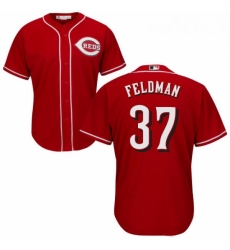 Youth Majestic Cincinnati Reds 37 Scott Feldman Authentic Red Alternate Cool Base MLB Jersey