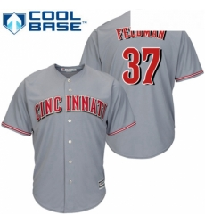 Youth Majestic Cincinnati Reds 37 Scott Feldman Replica Grey Road Cool Base MLB Jersey