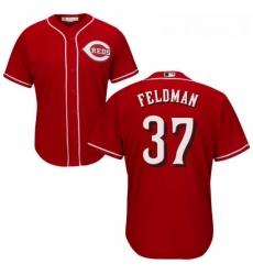 Youth Majestic Cincinnati Reds 37 Scott Feldman Replica Red Alternate Cool Base MLB Jersey