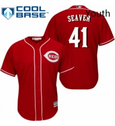 Youth Majestic Cincinnati Reds 41 Tom Seaver Authentic Red Alternate Cool Base MLB Jersey