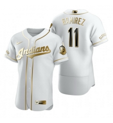 Cleveland Indians 11 Jose Ramirez White Nike Mens Authentic Golden Edition MLB Jersey