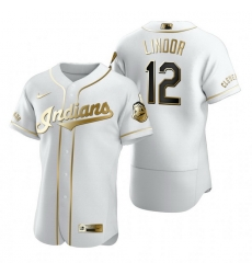 Cleveland Indians 12 Francisco Lindor White Nike Mens Authentic Golden Edition MLB Jersey