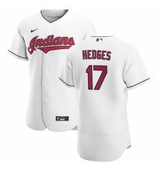 Men Cleveland Indians 17 Austin Hedges Men Nike White Home 2020 Flex Base Team MLB Jersey