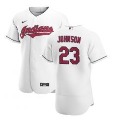 Men Cleveland Indians 23 Daniel Johnson Men Nike White Home 2020 Flex Base Team MLB Jersey