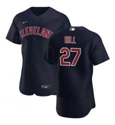 Men Cleveland Indians 27 Cam Hill Men Nike Navy Alternate 2020 Flex Base Player MLB Jersey