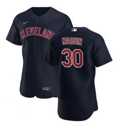 Men Cleveland Indians 30 Tyler Naquin Men Nike Navy Alternate 2020 Flex Base Player MLB Jersey