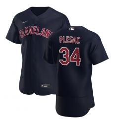 Men Cleveland Indians 34 Zach Plesac Men Nike Navy Alternate 2020 Flex Base Player MLB Jersey