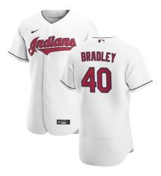 Men Cleveland Indians 40 Bobby Bradley Men Nike White Home 2020 Flex Base Team MLB Jersey