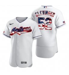 Men Cleveland Indians 52 Mike Clevinger Men Nike White Fluttering USA Flag Limited Edition Flex Base MLB Jersey