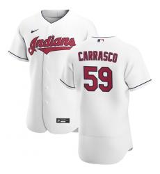 Men Cleveland Indians 59 Carlos Carrasco Men Nike White Home 2020 Flex Base Team MLB Jersey