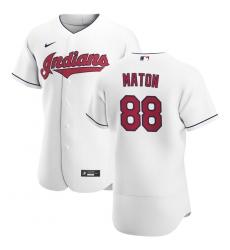Men Cleveland Indians 88 Phil Maton Men Nike White Home 2020 Flex Base Team MLB Jersey