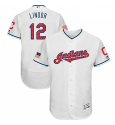 Mens Majestic Cleveland Indians 12 Francisco Lindor White Stars Stripes Collection 2018 World Series Jersey Flex Ba